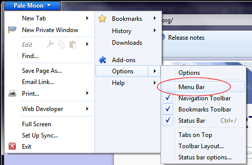Version 4: how to restore the menu bar.
